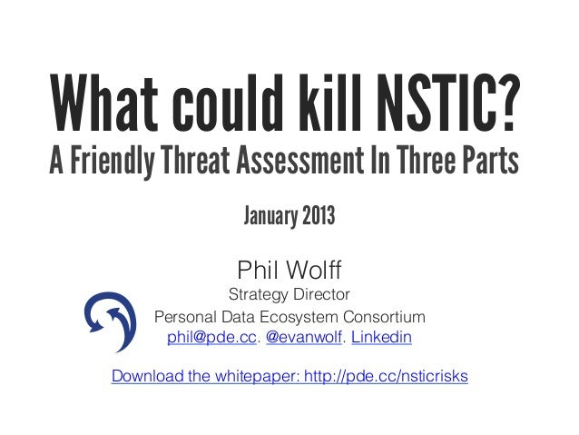What could kill NSTIC? A friendly threat assessment in 3 parts.