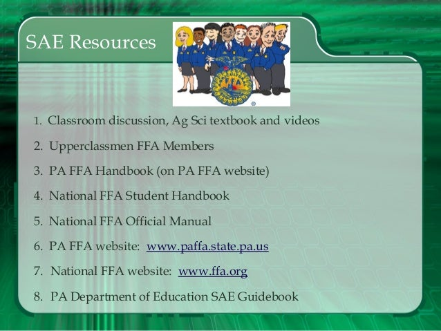 sae projects By michelle zercher have you ever wondered what ffa students are talking about when they talk about their sae projects, which are supervised agricultural experience projects.