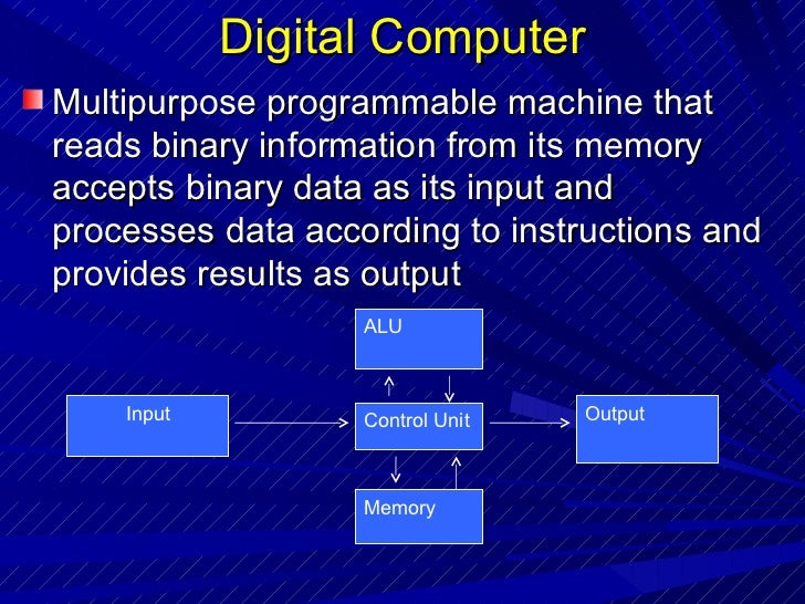 Digital Computer <ul><li>Multipurpose programmable machine that reads binary information from its memory accepts binary da...