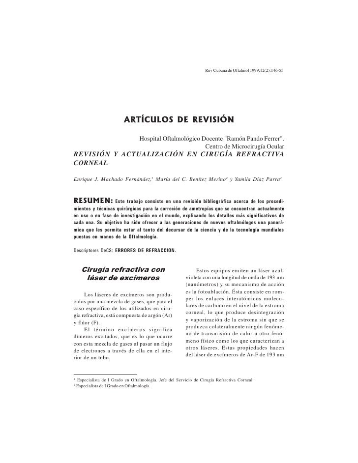 Rev Cubana de Oftalmol 1999;12(2):146-55                                ARTÍCULOS DE REVISIÓN                             ...
