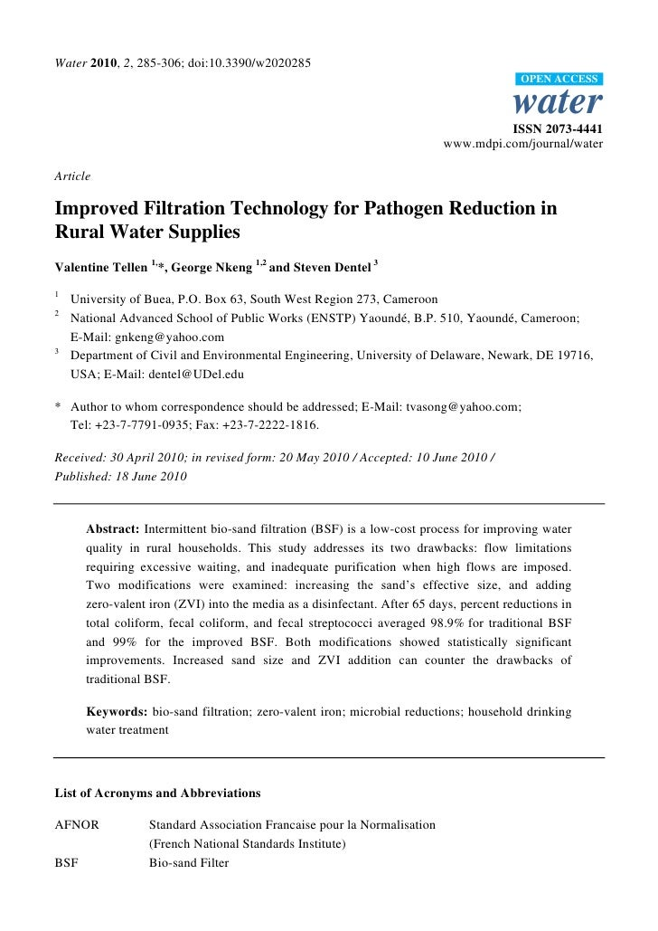 Cameroon;  Bio-Sand Filtration Improved Filtration Technology for Pathogen Reduction in Rural Water Supplies