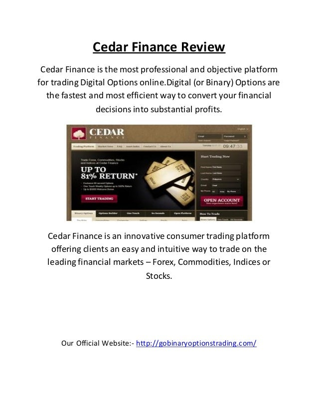 Cedar finance binary options platform duden