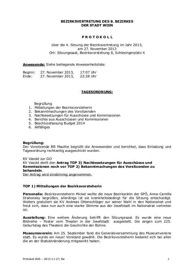 BEZIRKSVERTRETUNG DES 8. BEZIRKES DER STADT WIEN PROTOKOLL über die 4. Sitzung der Bezirksvertretung im Jahr 2013, am 27. ...