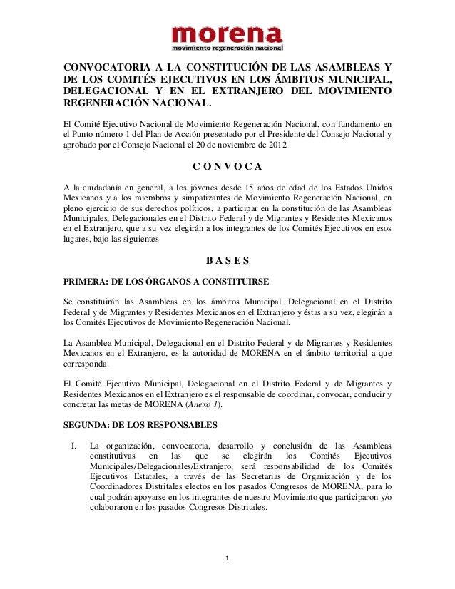 CONVOCATORIA A LA CONSTITUCIÓN DE LAS ASAMBLEAS YDE LOS COMITÉS EJECUTIVOS EN LOS ÁMBITOS MUNICIPAL,DELEGACIONAL Y EN EL E...