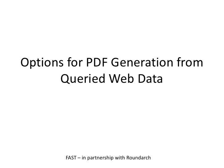 Pdf Generation Fast Dm
