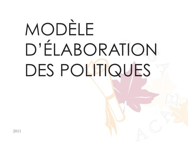 MODÈLE                  CA       D'ÉLABORATION S       DES POLITIQUES                     A                     A         ...