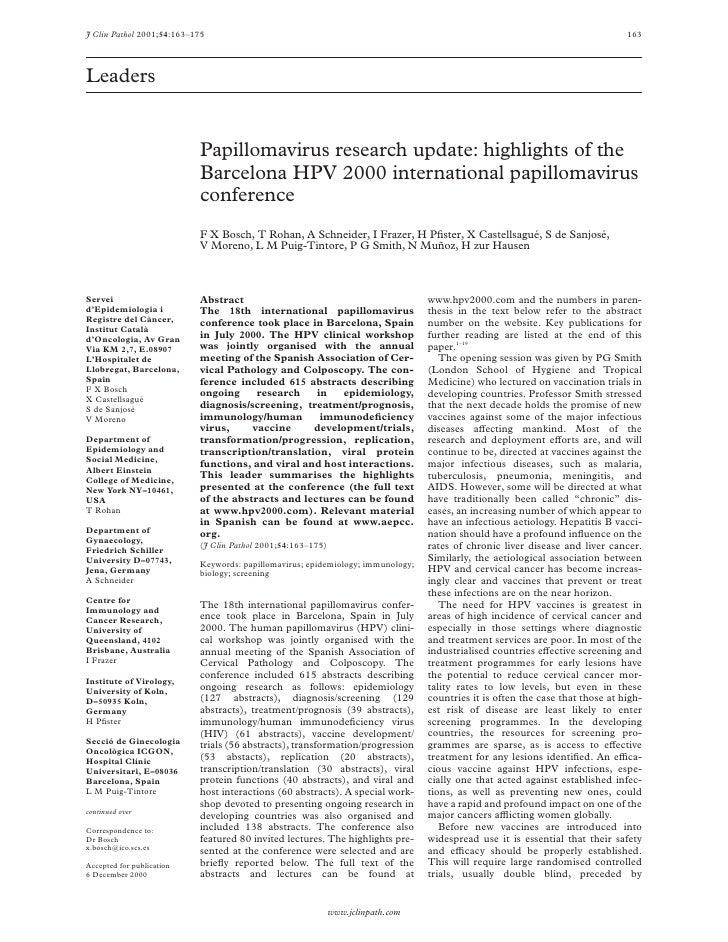 Papillomavirus research update: highlights of the Barcelona HPV 2000 international papillomavirus conference