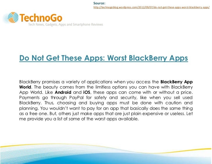 Do Not Get These Apps: Worst BlackBerry Apps