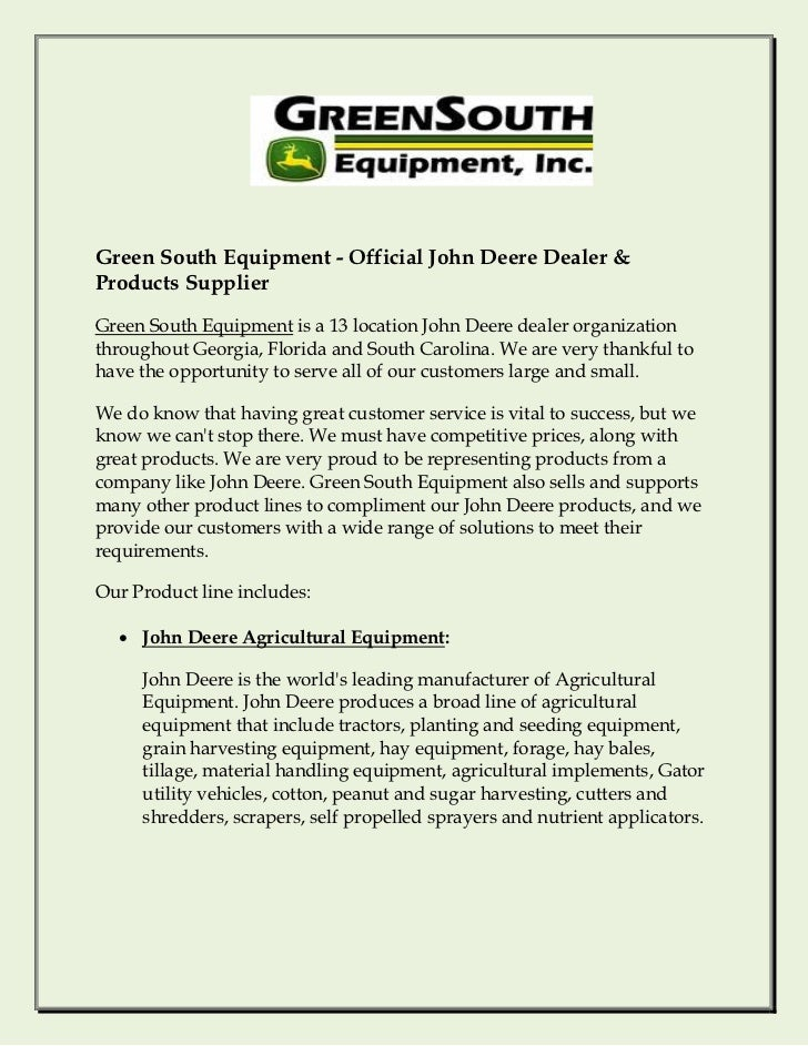 Green South Equipment - Official John Deere Dealer & Products Supplier