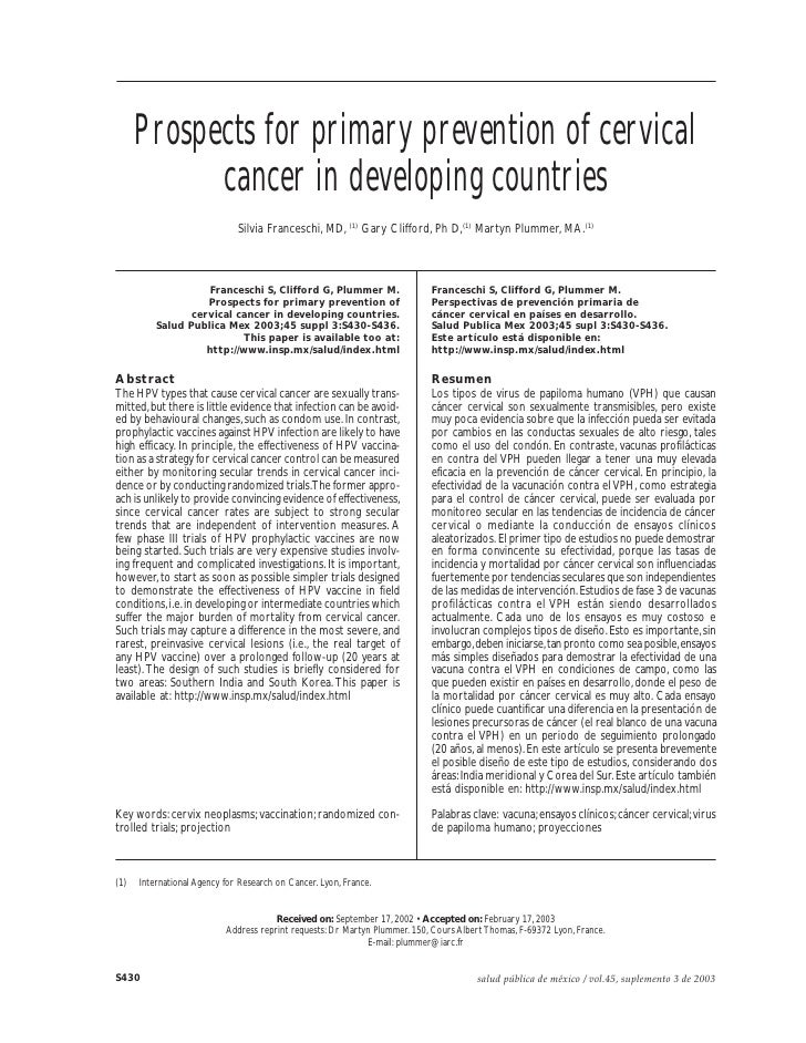 Franceschi S et al.           Prospects for primary prevention of cervical             cancer in developing countries     ...