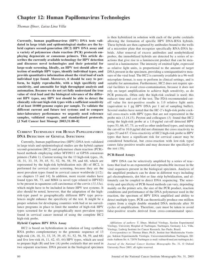 Human Papillomavirus Technologies