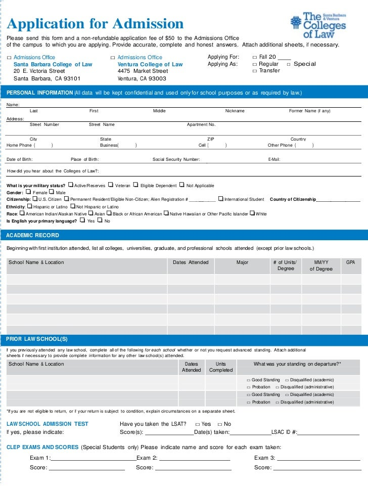 Application for AdmissionPlease send this form and a non-refundable application fee of $50 to the Admissions Officeof the ...