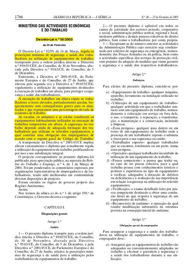1766  DIÁRIO DA REPÚBLICA — I SÉRIE-A  MINISTÉRIO DAS ACTIVIDADES ECONÓMICAS E DO TRABALHO Decreto-Lei n.o 50/2005 de 25 d...