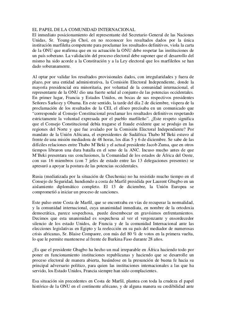 EL PAPEL DE LA COMUNIDAD INTERNACIONALEl inmediato posicionamiento del representante del Secretario General de las Nacione...