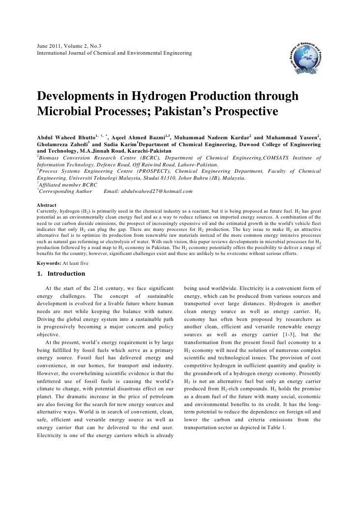June 2011, Volume 2, No.3International Journal of Chemical and Environmental EngineeringDevelopments in Hydrogen Productio...