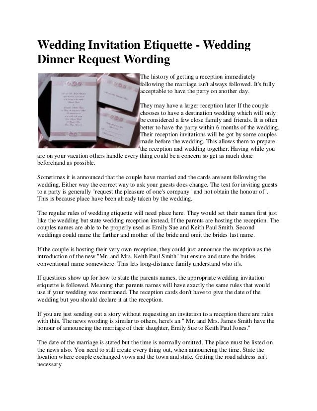 Wedding Invite Etiquette Wording: Wedding Dinner Request Wording