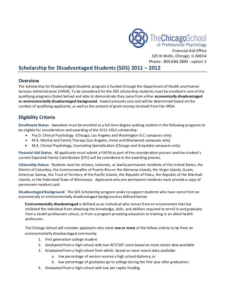 Scholarship for Disadvantage Students - The Chicago School of Professional Psychology