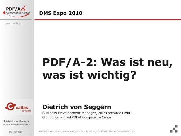 PDF/A-2, Was ist neu, was ist wichtig?