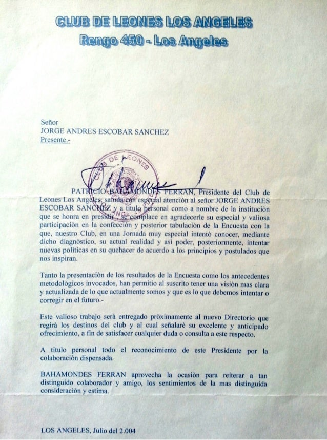Carta agradecimiento a Jorge Andrés Escobar del Pdte Club de Leones L.A. Chile Patricio Bahamondes QEPD