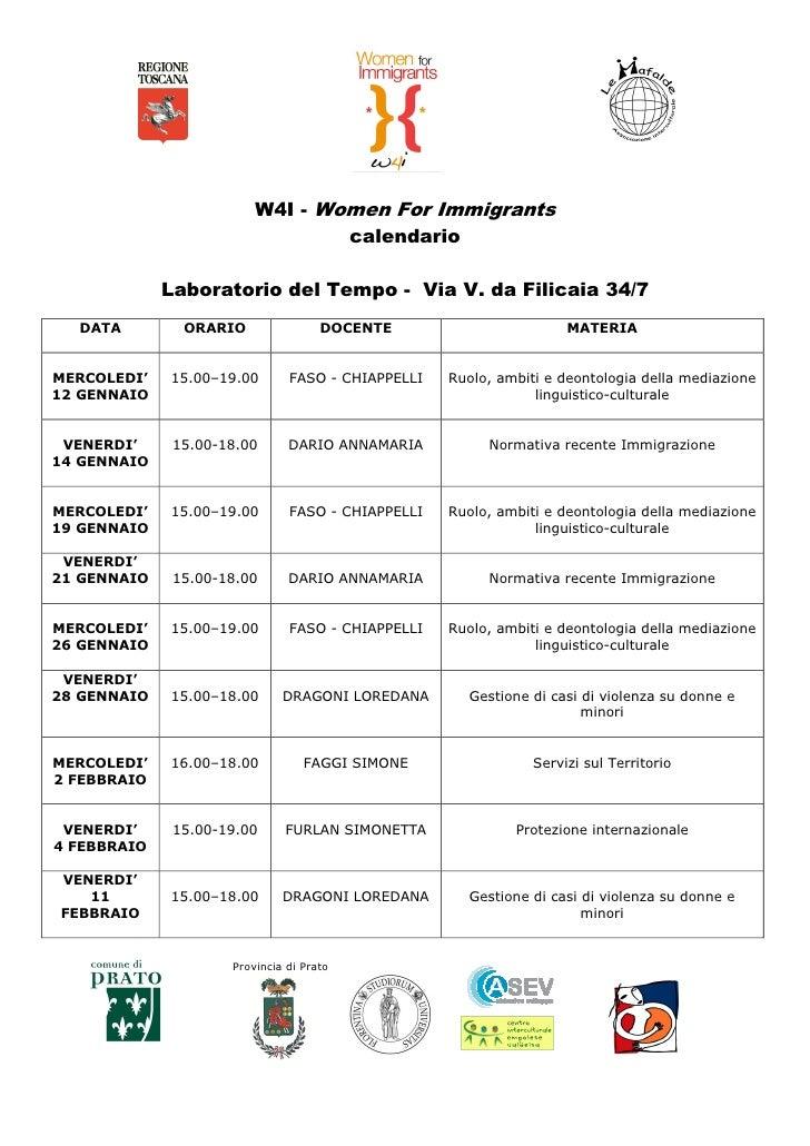 W4I - Women For Immigrants                                 calendario             Laboratorio del Tempo - Via V. da Filica...