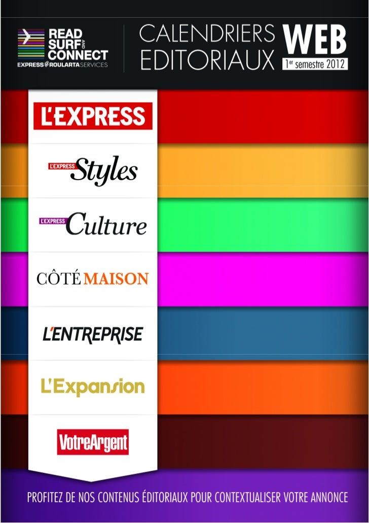 Calendriers Editoriaux Web Express Roularta Services