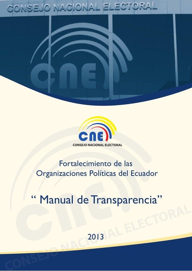 Manual de Transparencia CNE 2013