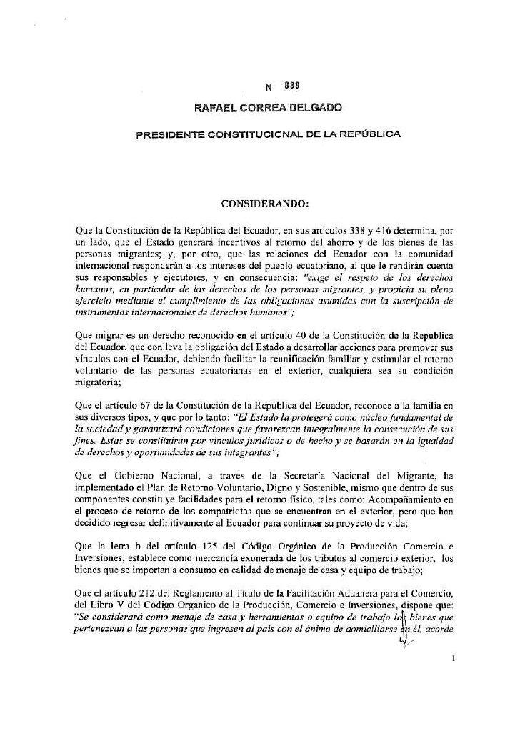 Decreto 888 Ecuador Normas Generales para la Importación de Menajes de Casa y Equipos