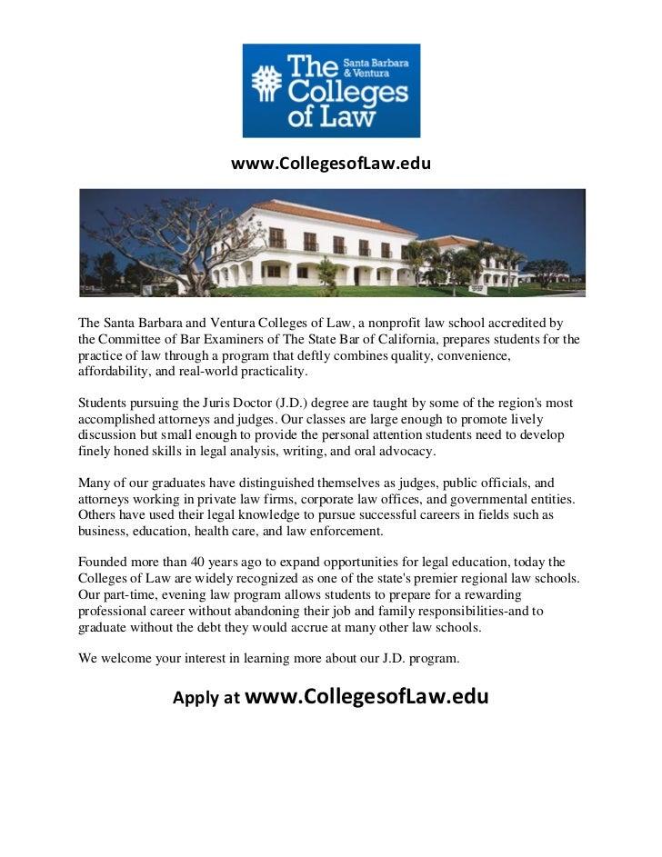 Top Law Schools In Ventura & Santa Barbara California