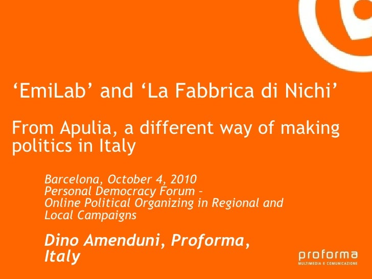 EmiLab and Fabbrica di Nichi - from Apulia, a different way of making politics in Italy