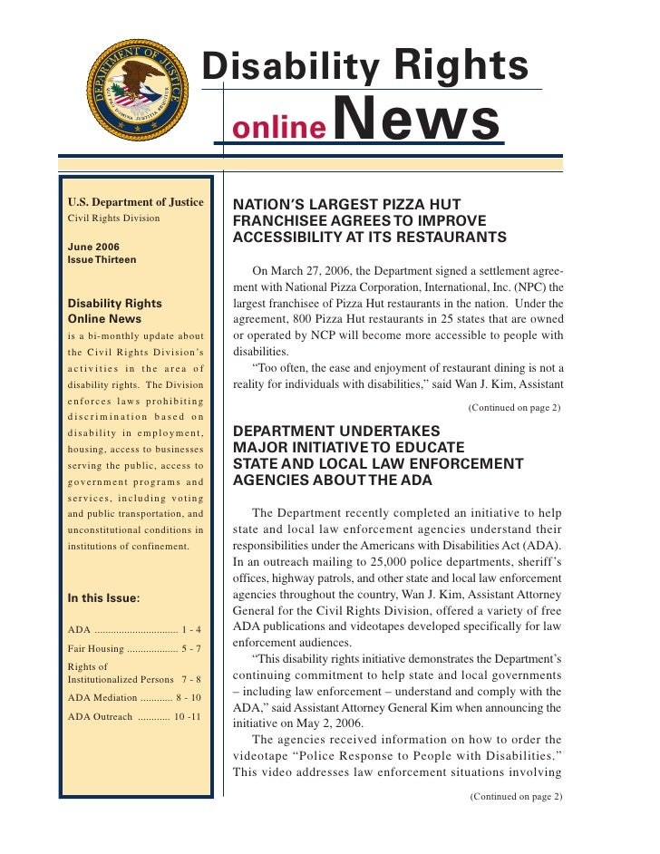 Disability Rights                                             online              News U.S. Department of Justice         ...
