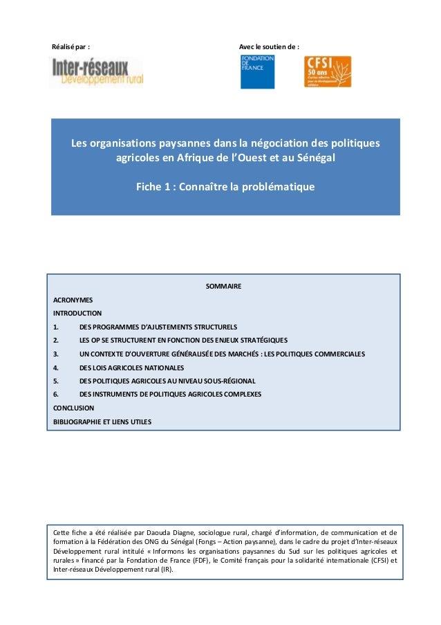 Les organisations paysannes dans la négociation des politiques agricoles en Afrique de l'Ouest et au Sénégal - Fiche 1 : Connaître la problématique.