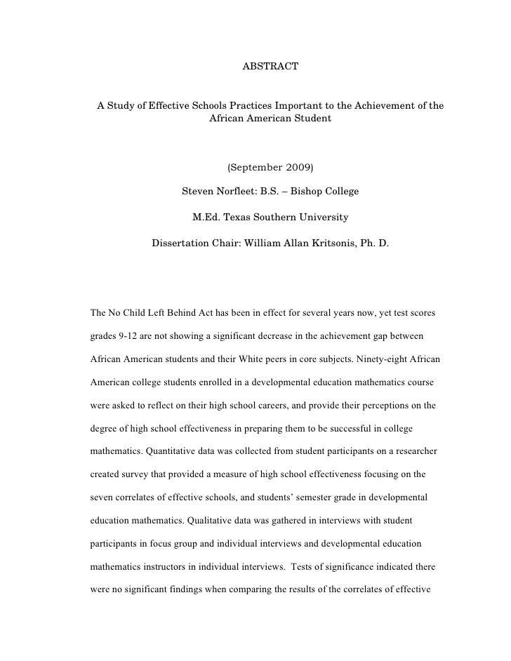 Dissertation Chair Dr. William Allan Kritsonis & Steven Norfleet