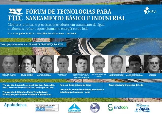 Fórum de Tecnologias para                                  Saneamento Básico e Industrial          Melhores práticas e pro...
