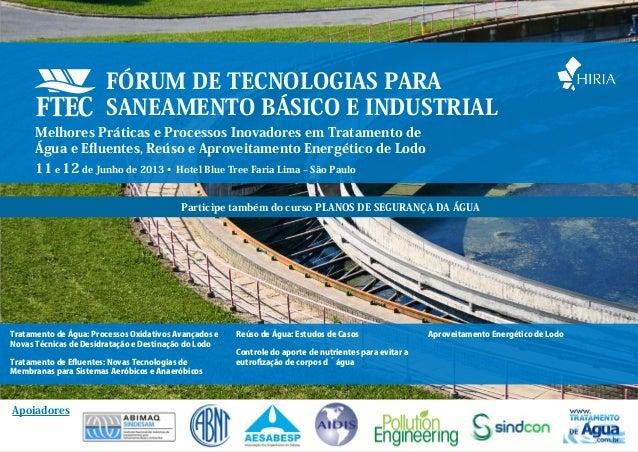FORUM DE TECNOLOGIAS PARA SANEAMENTO BASICO E INDUSTRIAL