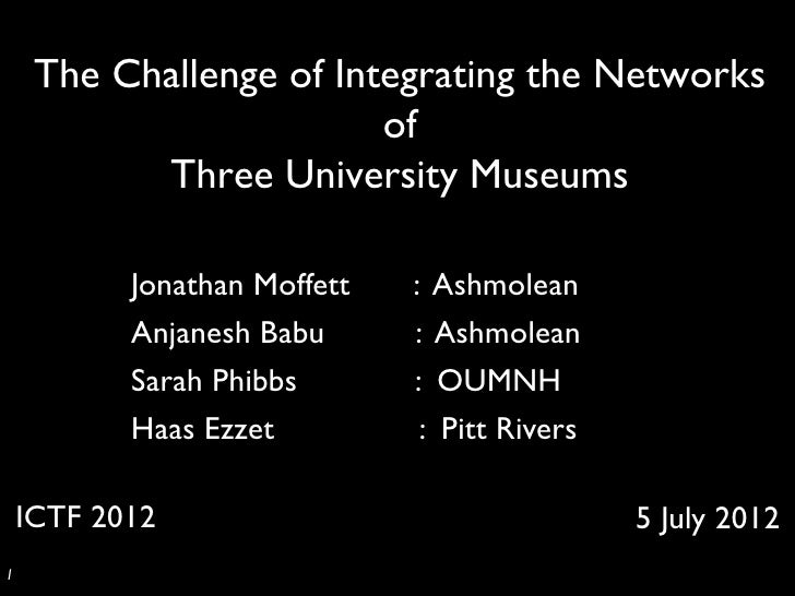 The Challenge of Integrating the Networks                           of             Three University Museums	            Jo...