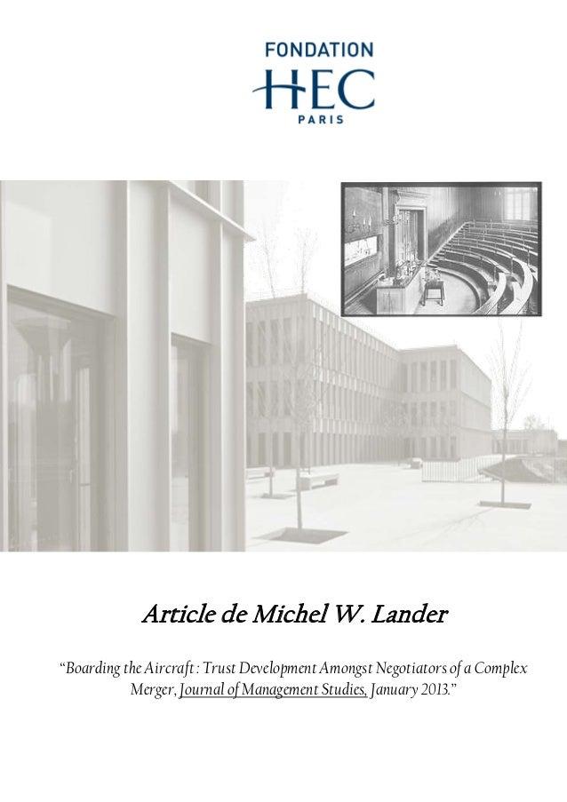 "Article de Michel W. Lander ""Boarding the Aircraft : Trust Development Amongst Negotiators of a Complex Merger, Journal of..."