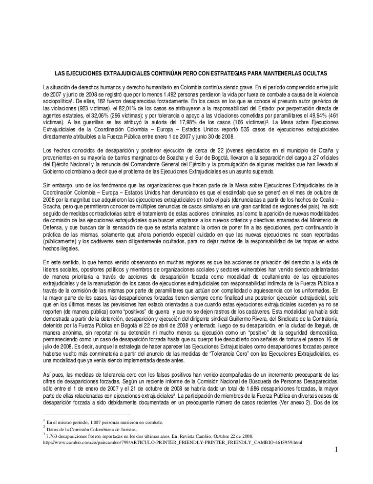 LAS EJECUCIONES EXTRAJUDICIALES CONTINÚAN PERO CON ESTRATEGIAS PARA MANTENERLAS OCULTASLa situación de derechos humanos y ...