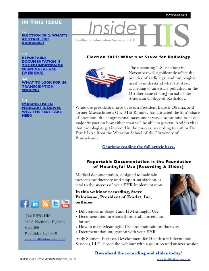 OCTOBER 2012                                             Inside  IN THIS ISSUE  1.1  ELECTION 2012: WHAT'S  AT STAKE FOR  ...