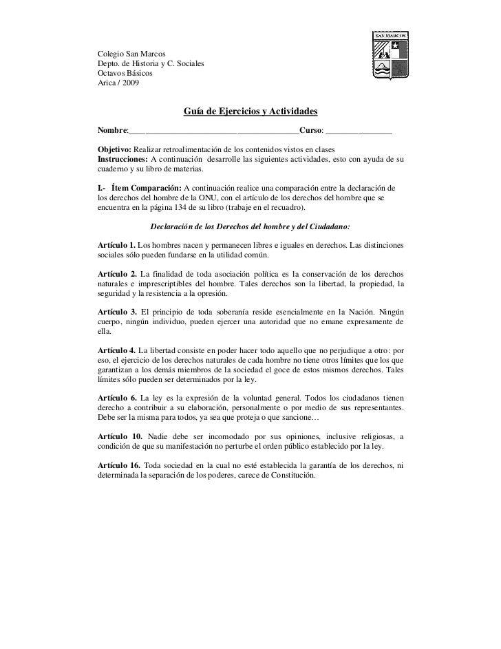 Colegio San MarcosDepto. de Historia y C. SocialesOctavos BásicosArica / 2009                          Guía de Ejercicios ...