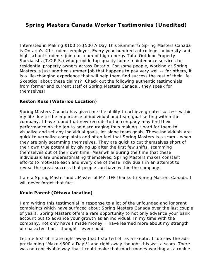 Spring Masters Canada Worker Testimonies (Unedited)