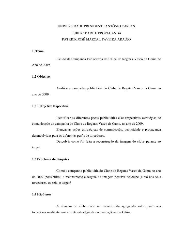UNIVERSIDADE PRESIDENTE ANTÔNIO CARLOS                                 PUBLICIDADE E PROPAGANDA                       PATR...