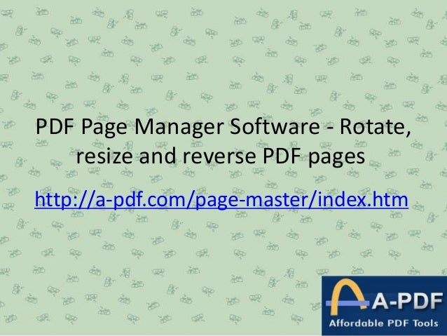 Pdf page manager software   rotate, resize and reverse pdf pages