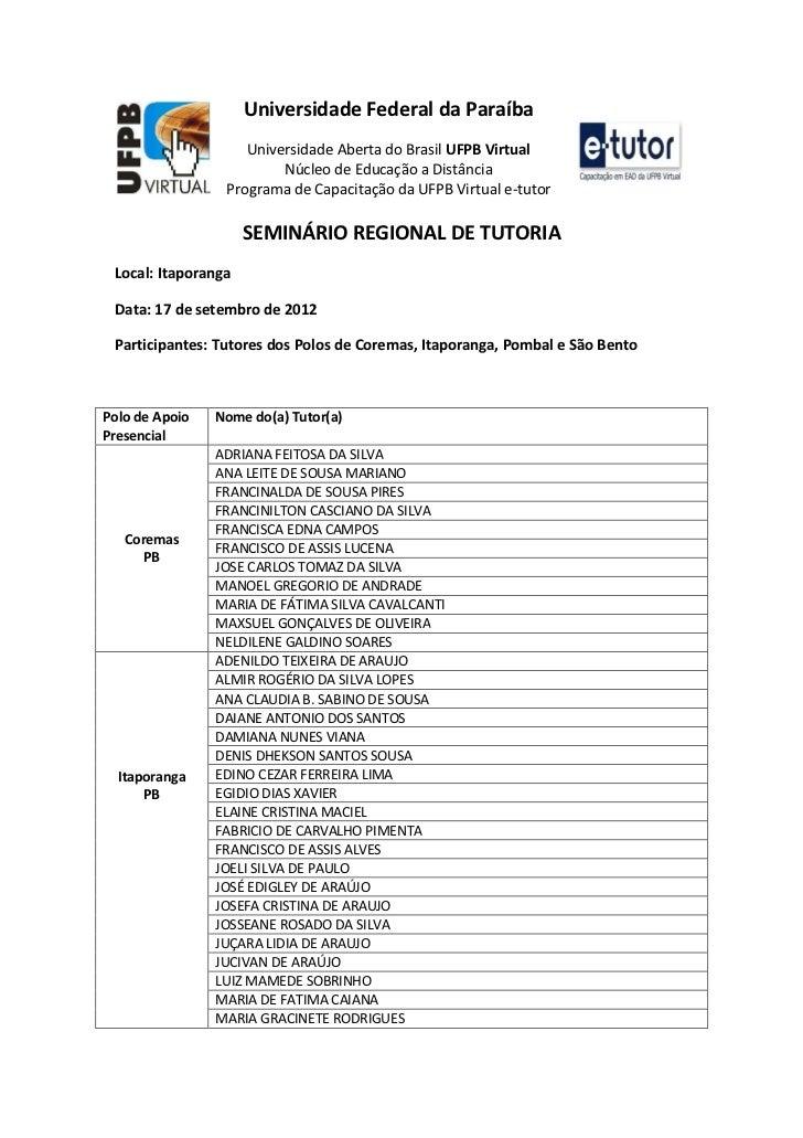 Pdf participantes seminário regional de tutoria itaporanga