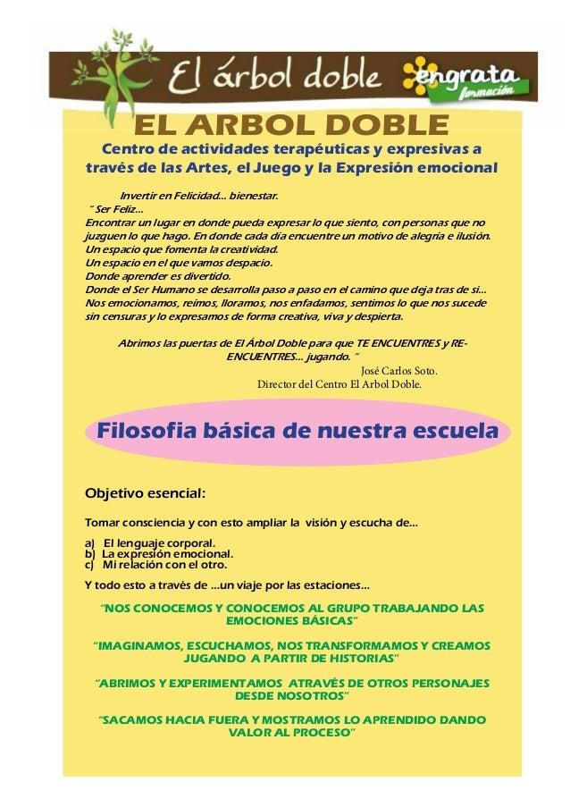 EL ARBOL DOBLE  Centro de actividades terapéuticas y expresivas a  través de las Artes, el Juego y la Expresión emocional ...