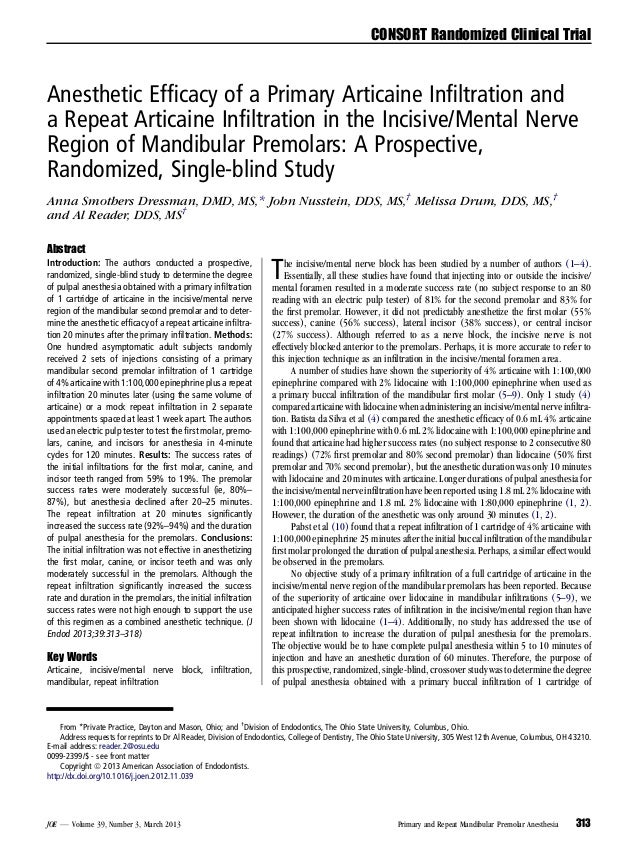 CONSORT Randomized Clinical Trial  Anesthetic Efficacy of a Primary Articaine Infiltration and a Repeat Articaine Infiltratio...