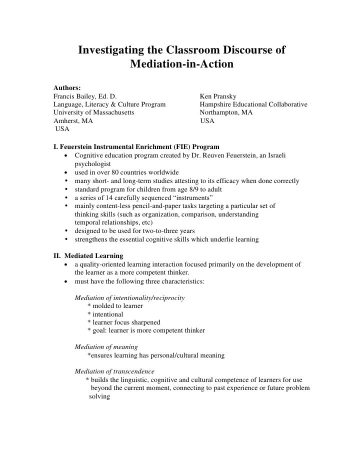 Investigating the Classroom Discourse of                   Mediation-in-Action Authors: Francis Bailey, Ed. D.            ...