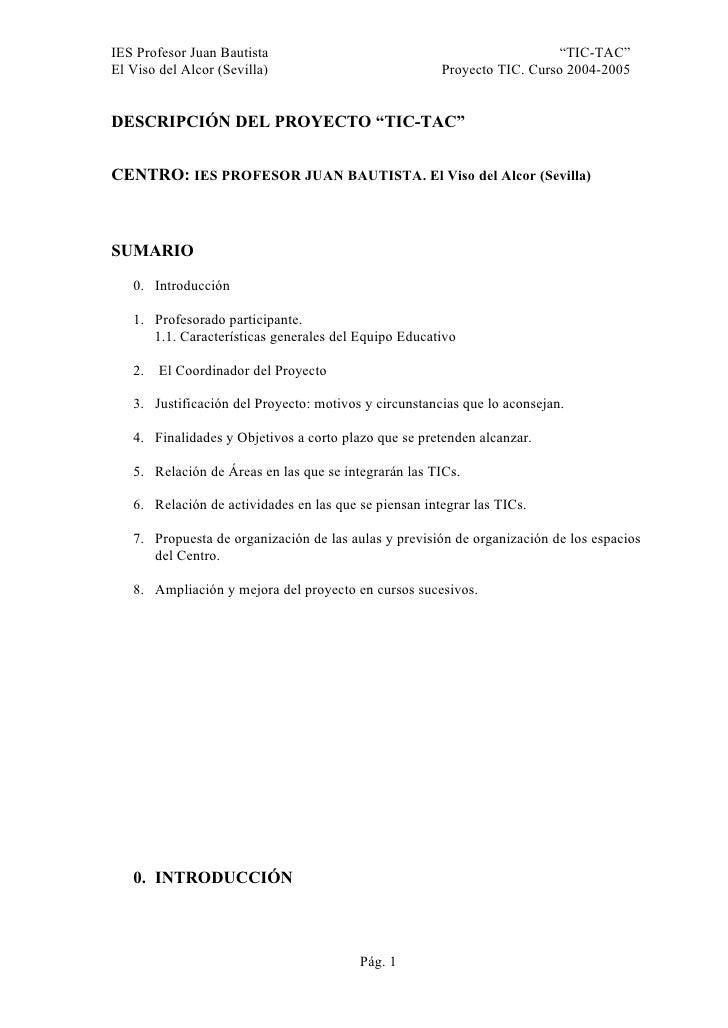 """IES Profesor Juan Bautista                                                """"TIC-TAC"""" El Viso del Alcor (Sevilla)           ..."""