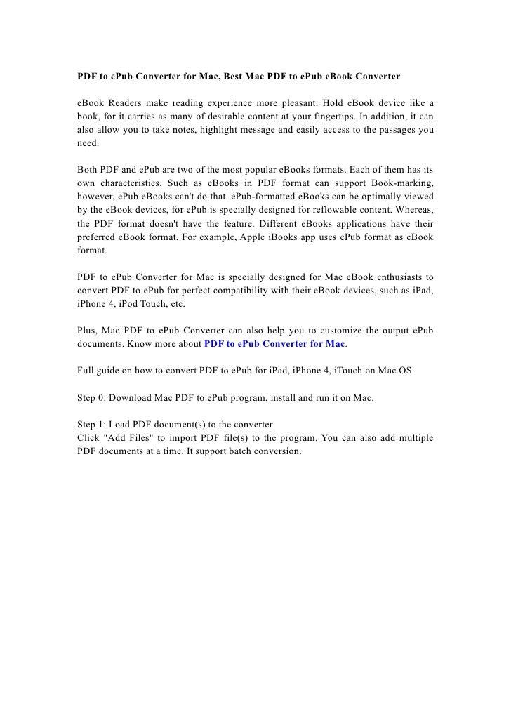 PDF to ePub Converter for Mac, Best Mac PDF to ePub eBook Converter  eBook Readers make reading experience more pleasant. ...