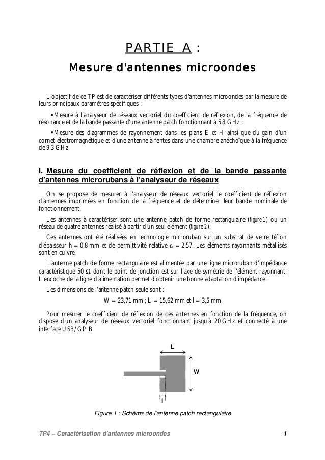 TP4 – Caractérisation d'antennes microondes 1 PARTIE A : Mesure d'antennes microondesMesure d'antennes microondesMesure d'...