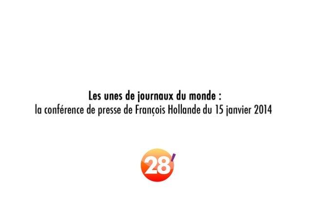 Les unes de journaux du monde : la conférence de presse de F. Hollande